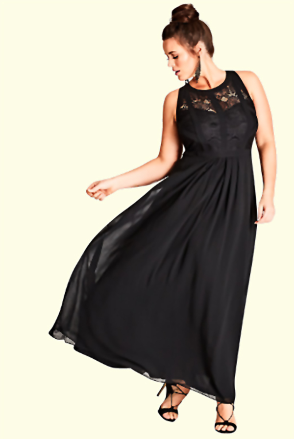 Formal maxi dress. Curvy heaven! I love the lace bodice on this dress. If you are looking for something other than black, it comes in four more colors. Tap and look for it in the first or second buy listing on the page, in the My Online Wedding Help products section. #WeddingDresses #MyOnlineWeddingHelp #MaxiDress #BlackDress #PlusSizeDresses