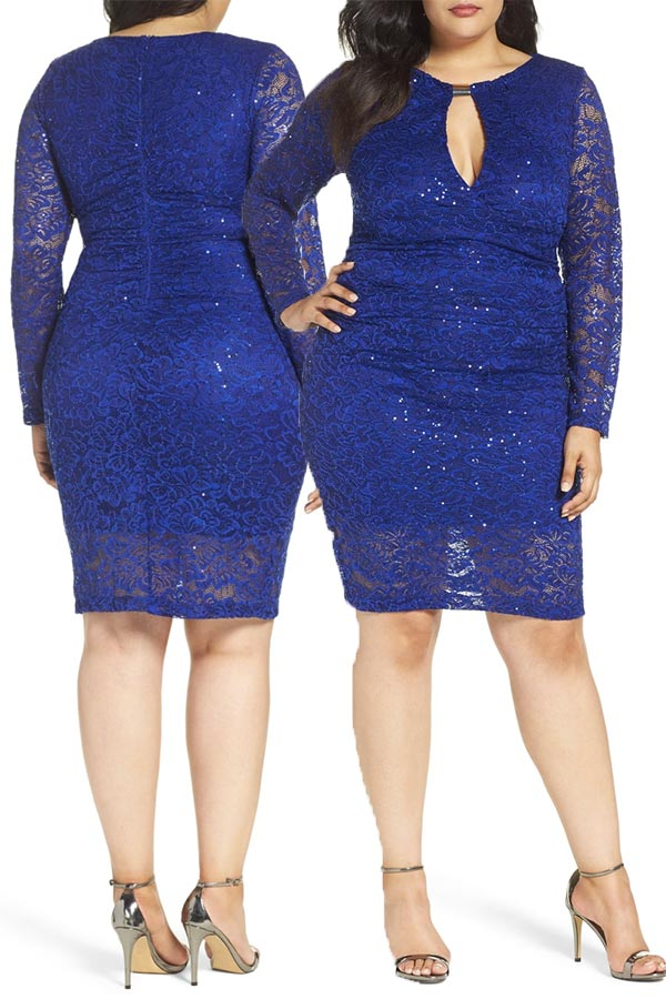 Short, royal blue cocktail dress with sleeves. In plus size. Stretch lace sprinkled with twinkling sequins. It's modest but still sexy. Wear it to a party or as a wedding guest. #SpecialOccasionDresses #WeddingGuestDress #MyOnlineWeddingHelp #DressWithSleeves #ShortDress #PlusSizeDress