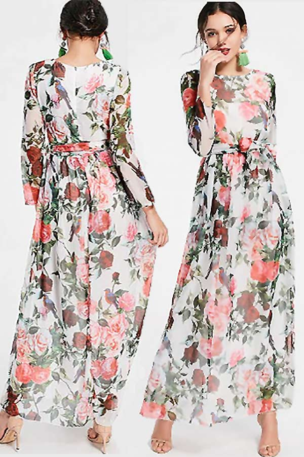 This long floral pattern dress is cute as a wedding guest or other special occasion dress. The maxi length and high neckline makes for a modest, classy dress. The red and pink roses pattern makes this dress ideal for Summer or Spring. Tap then look for it as the first or second buy link. In the My Online Wedding Help products section. #SpecialOccasionDresses #WeddingGuestDresses #MyOnlineWeddingHelp #FloralDresses #MaxiDress