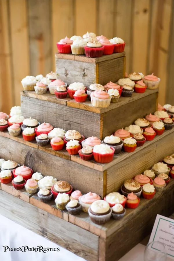Rustic wood cupcake display. Four sizes and several stains. Buy top tier for $18.00 . In the My Online Wedding Help products section. #MyOnlineWeddingHelp