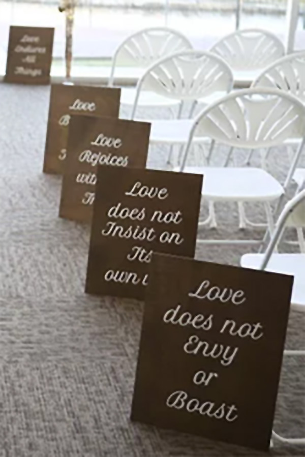 Wedding aisle signs with bible verse written on them. Walnut stain. Also use as wedding decor at the reception. $140 for 11 signs. Buy in the My Online Wedding Help products section. #MyOnlineWeddingHelp #WeddingDecor