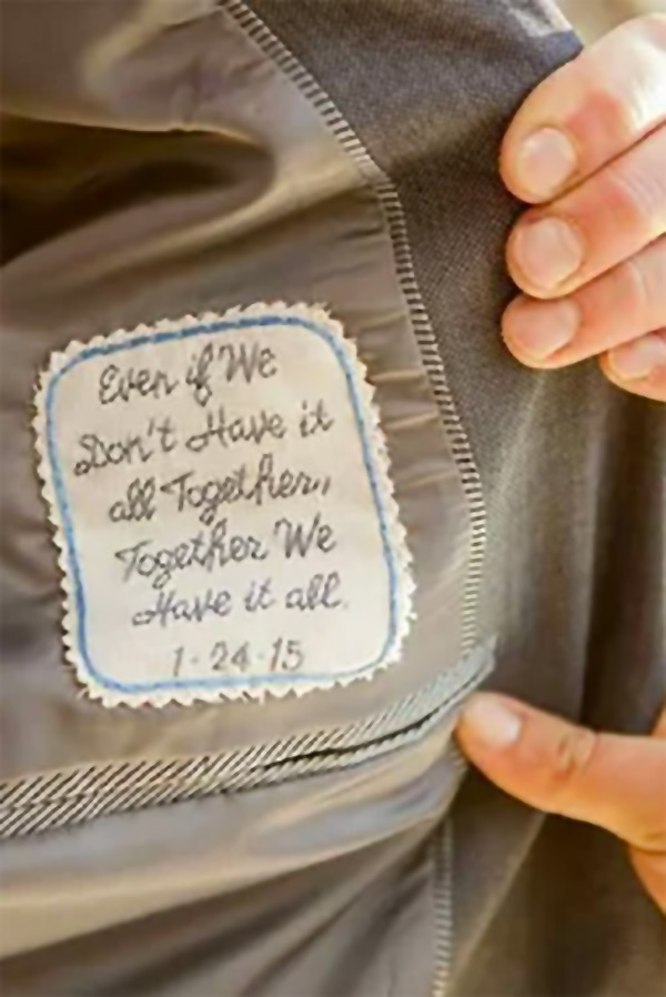 Any 12 words personalize this tie patch. Gift from bride to groom, or sew inside the wedding gown as something blue. Buy in the My Online Wedding Help products section. #MyOnlineWeddingHelp #GroomGift #GiftfromBride