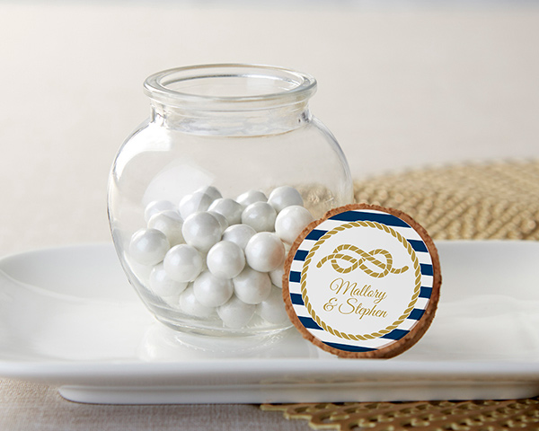 Personalized Nautical Wedding Glass Sphere Jar (Set of 12)