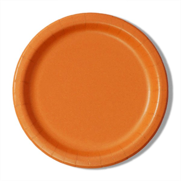 """7"""" Orange Paper Lunch Plates - Quantity: 8 - Household Supplies by Paper Mart"""