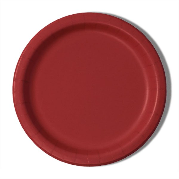 """7"""" Red Paper Lunch Plates - Quantity: 8 - Household Supplies by Paper Mart"""