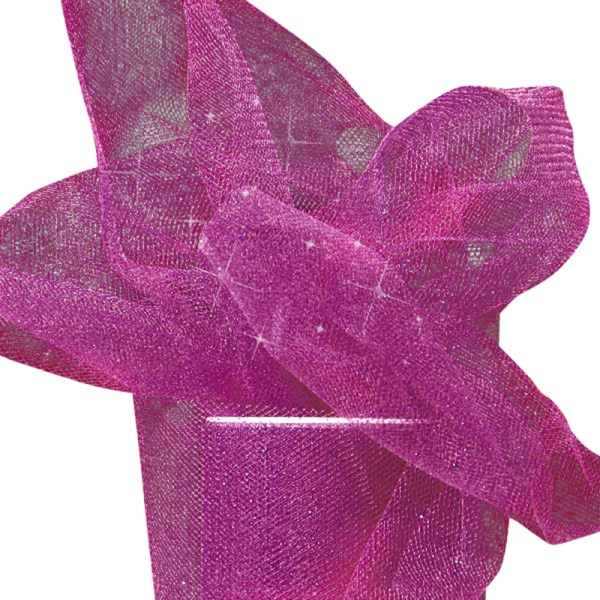 """Fuchsia Sparkling Tulle Roll - 6"""" X 25yd - Fabric - Width: 6"""" by Paper Mart"""