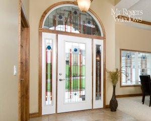 8 Foot Steel Door Full Glass Side Lights Transom