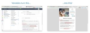 Use variables to customize your event invitations