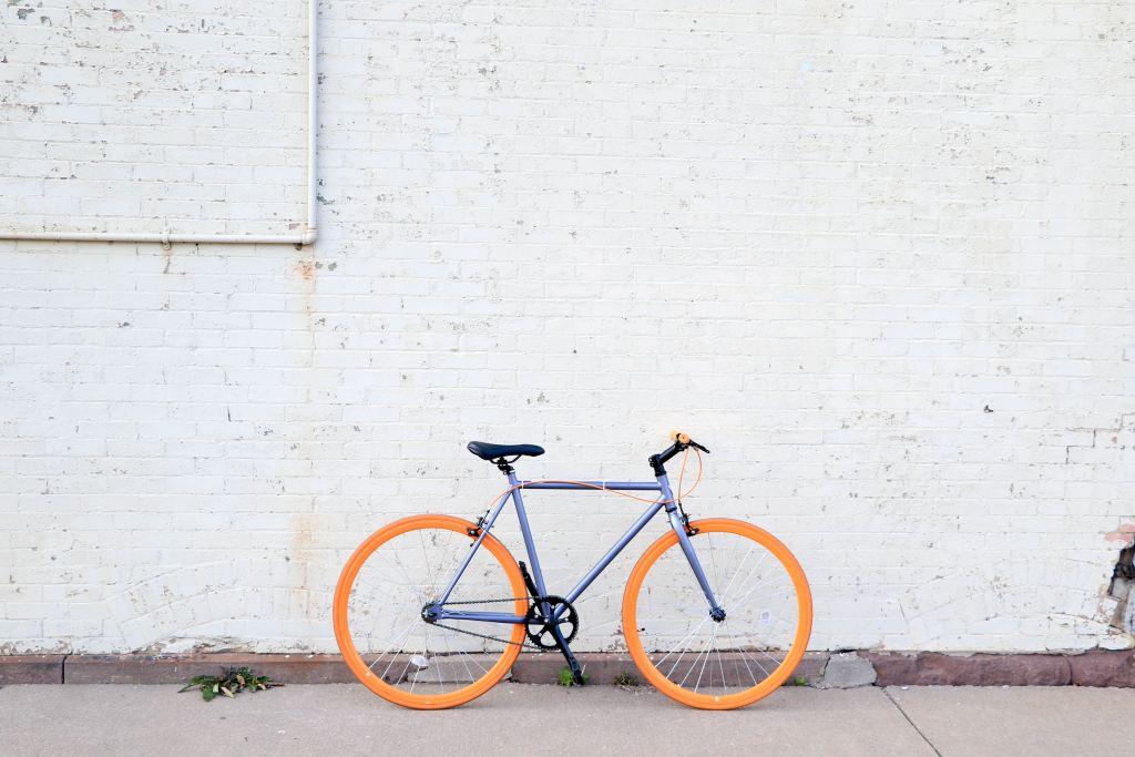 bike with orange wheels