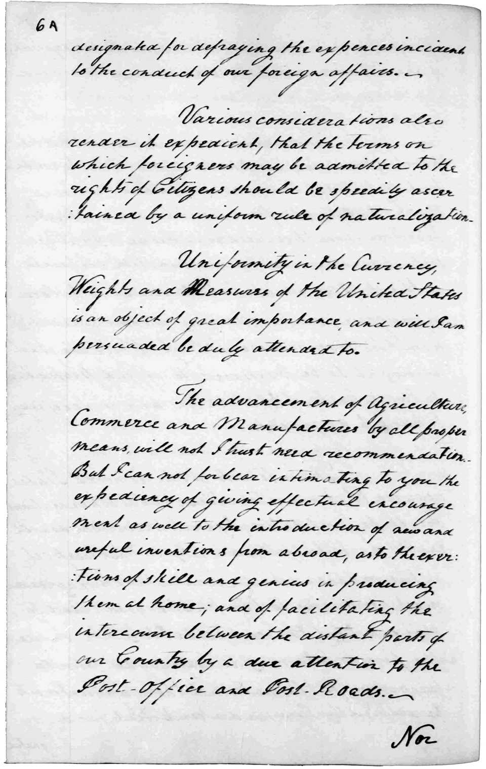 First Annual Address to Congress, January 8, 1790 · George