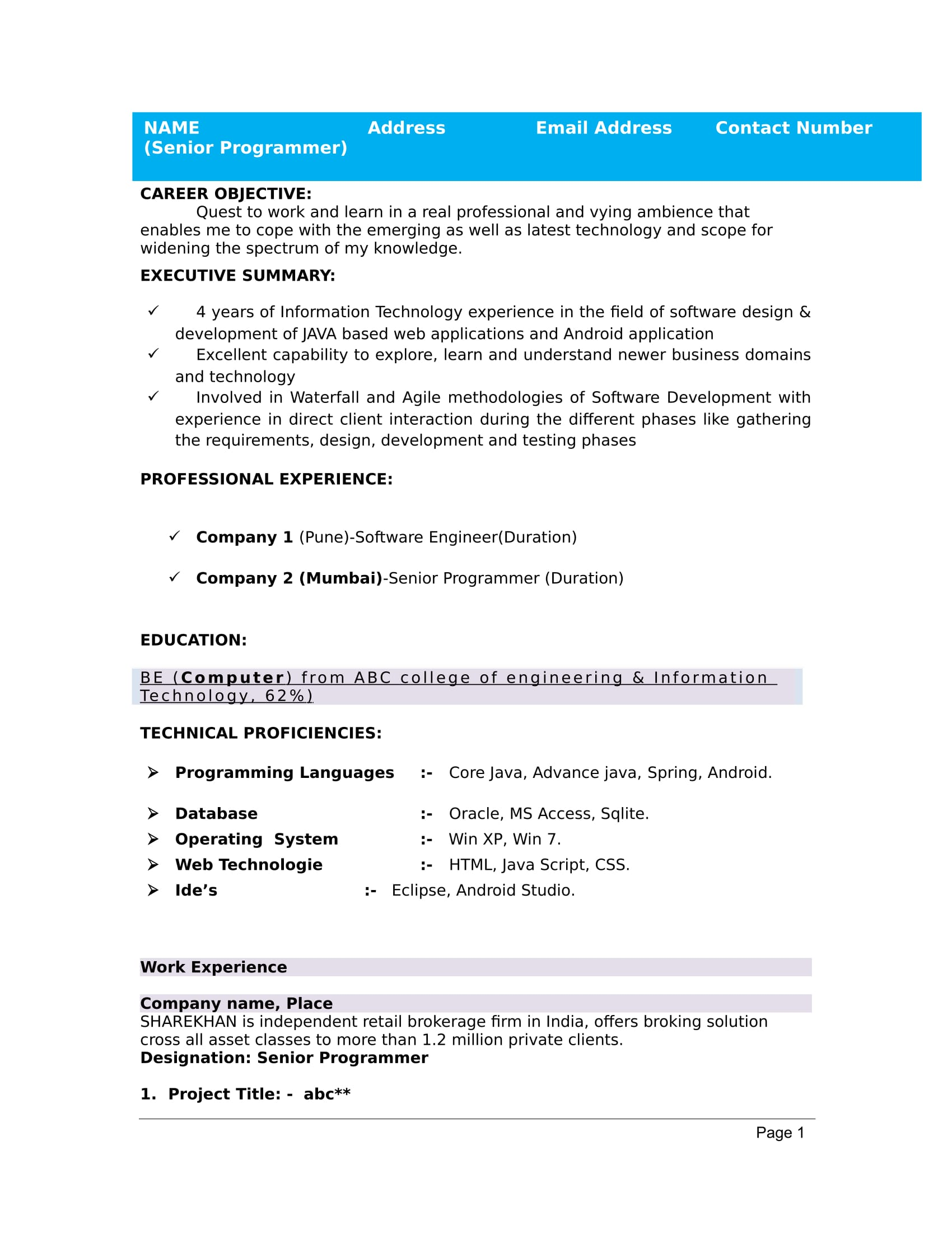 Sample Resume Format For Freshers 32 43 Resume Templates For Freshers Download Free Word Format