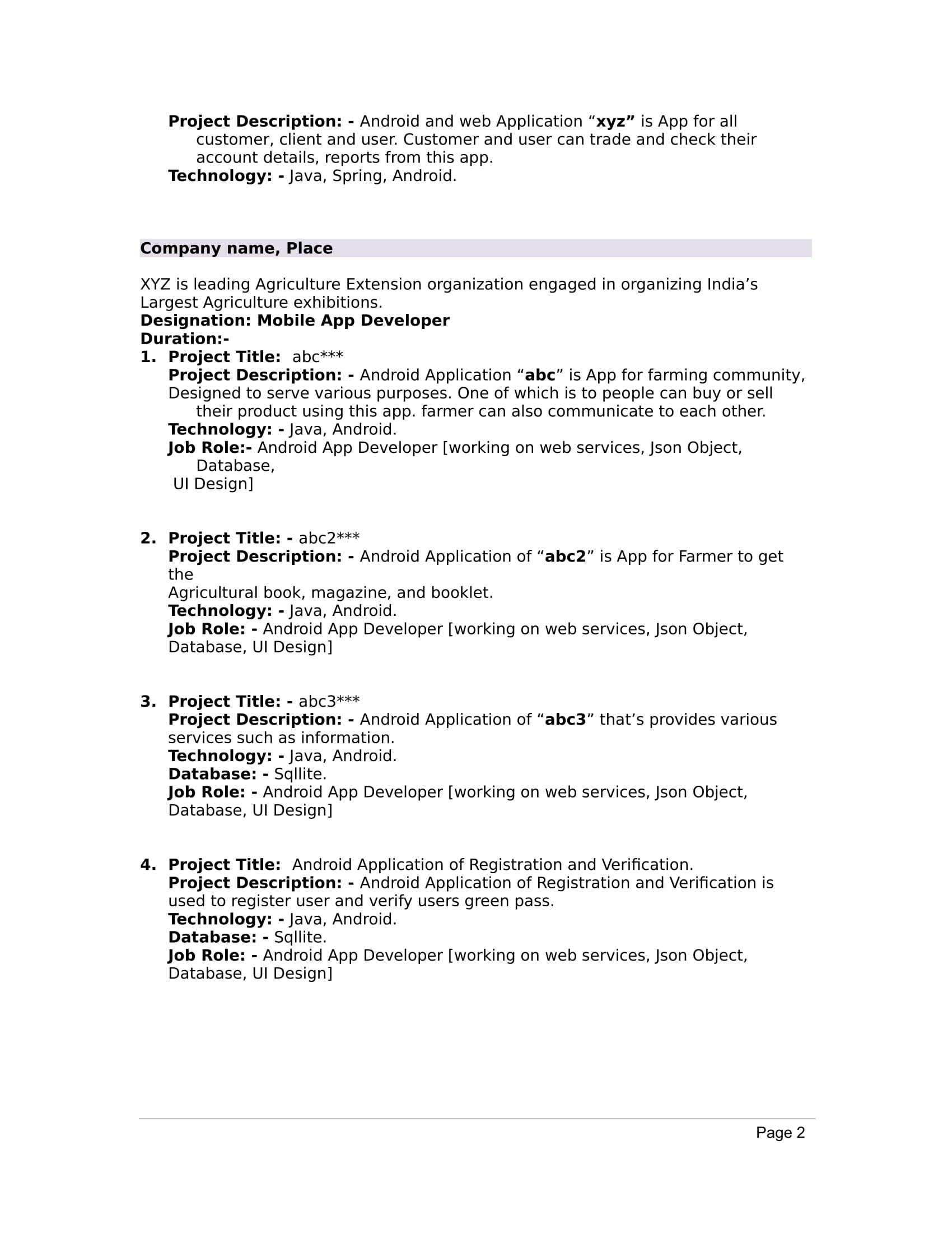 best resume samples for cse freshers