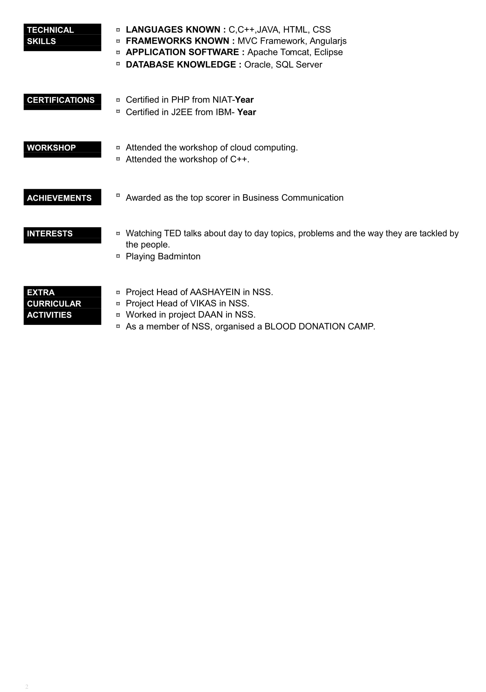 Resume Format For Job Interview For Freshers Pdf Download