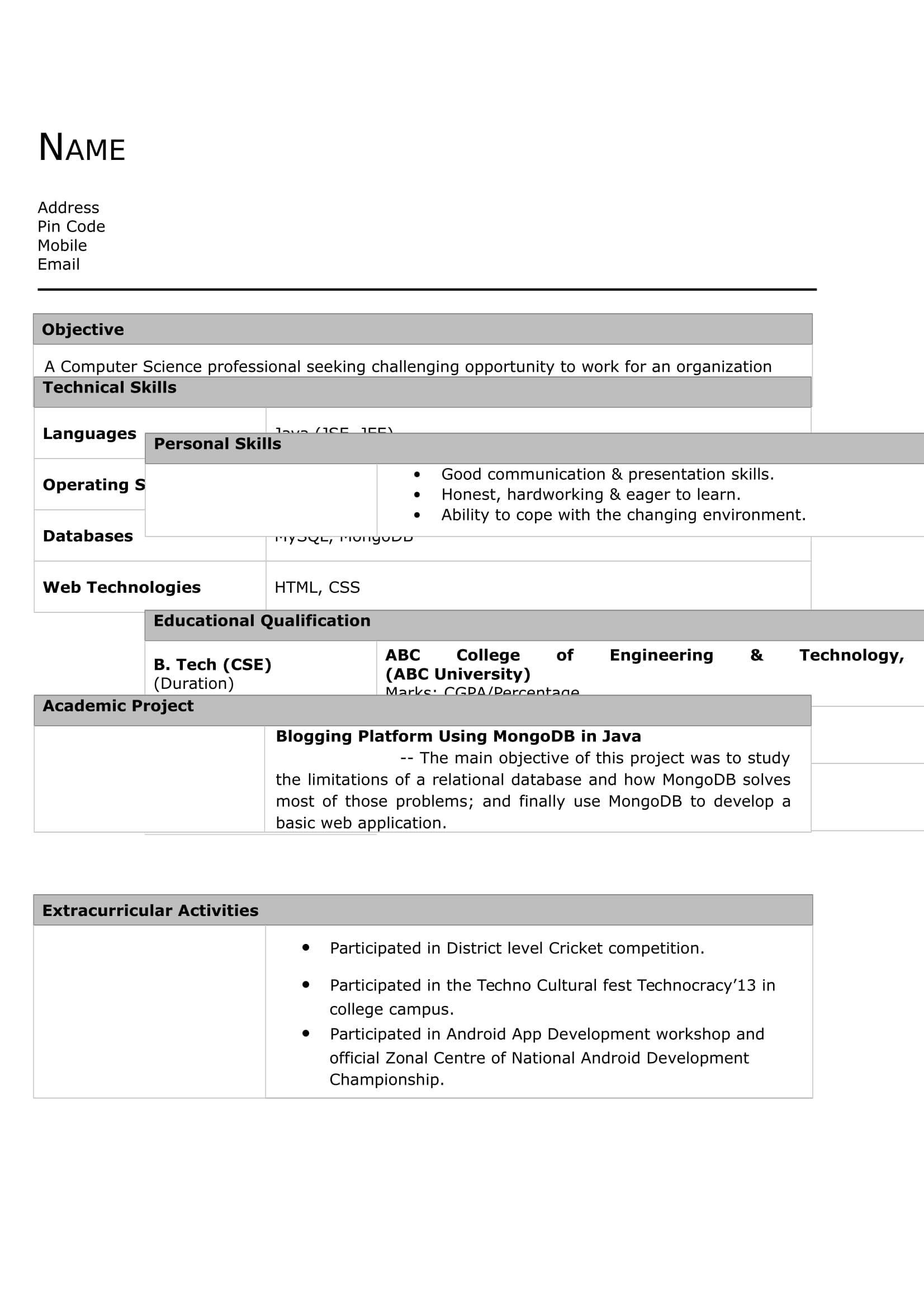 Sample Resume For Vlsi Engineer Fresher 32 43 Resume Templates For Freshers Download Free Word Format