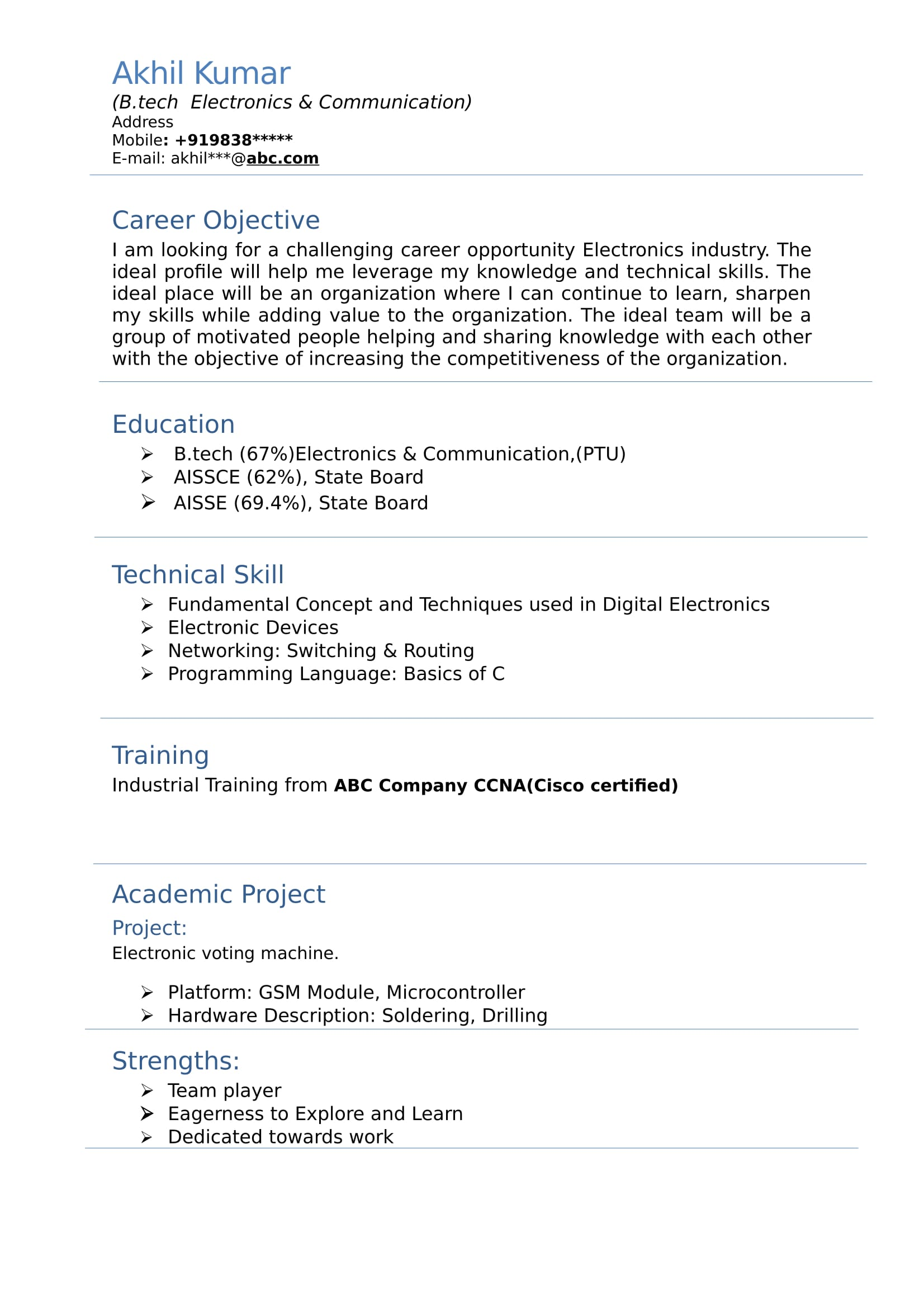 Objective In Resume For Freshers Resume Templates For Electronics And Communication Engineer