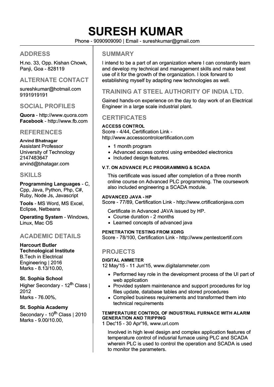 editable resume template for freshers