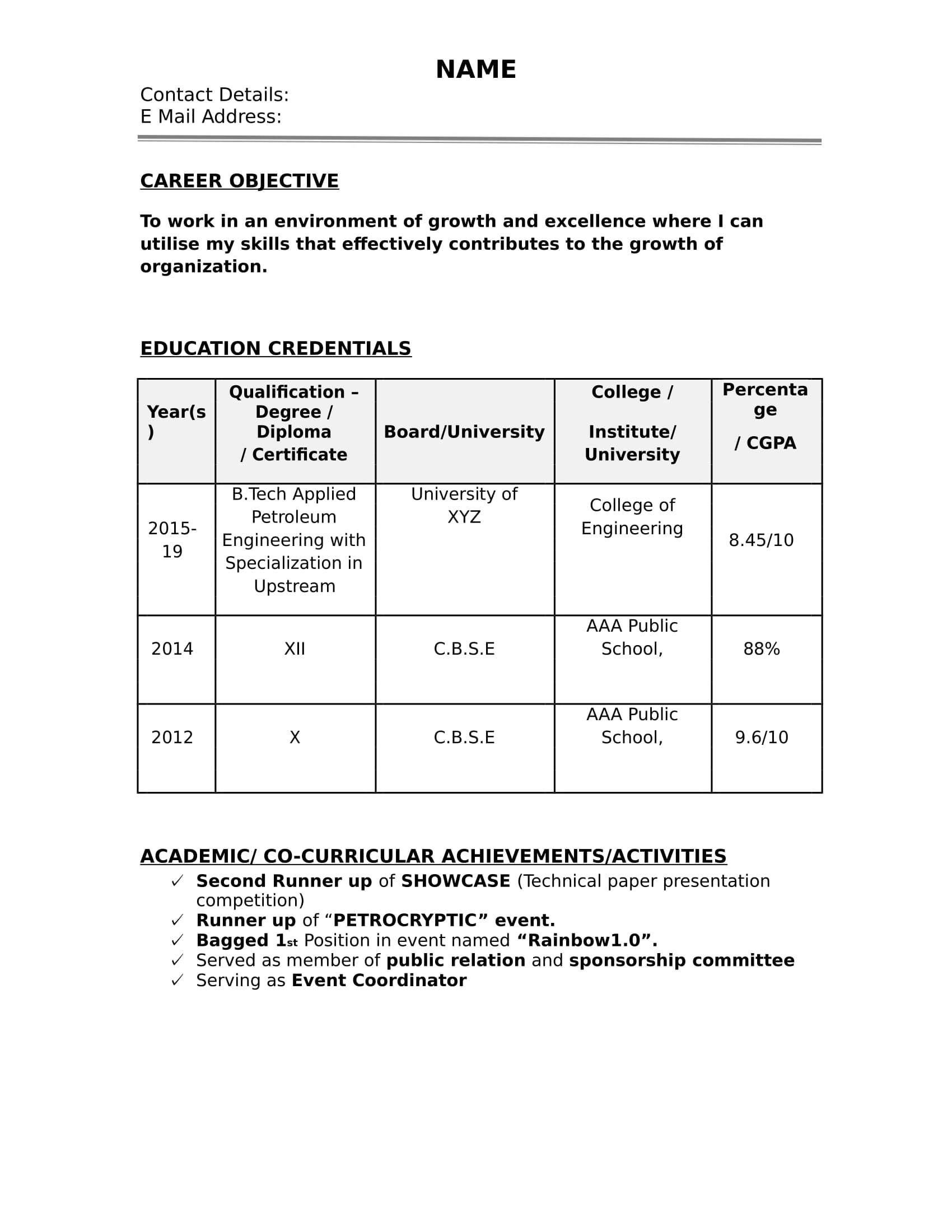Format Resume Word 32 Resume Templates For Freshers Download Free Word Format