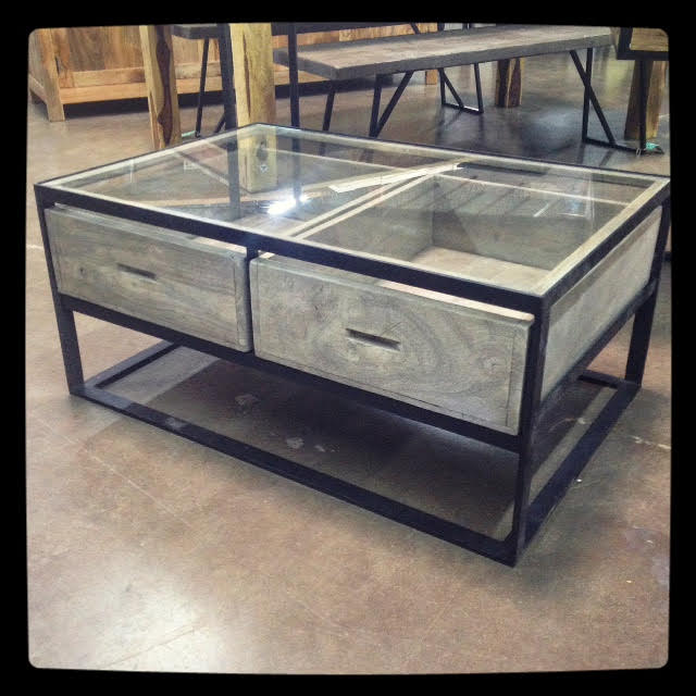 glass top coffee table with drawers