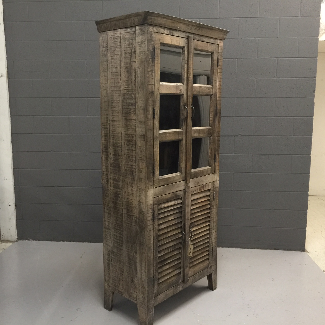 Tall Reclaimed Wood Display Cabinet With Shutter Doors Nadeau Nashville