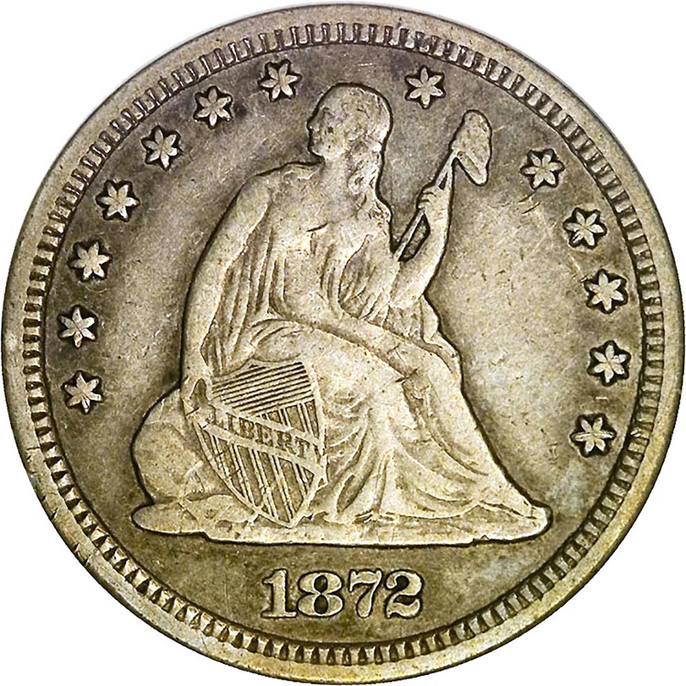 1872 Cc 25c Ms Seated Liberty Quarters Ngc