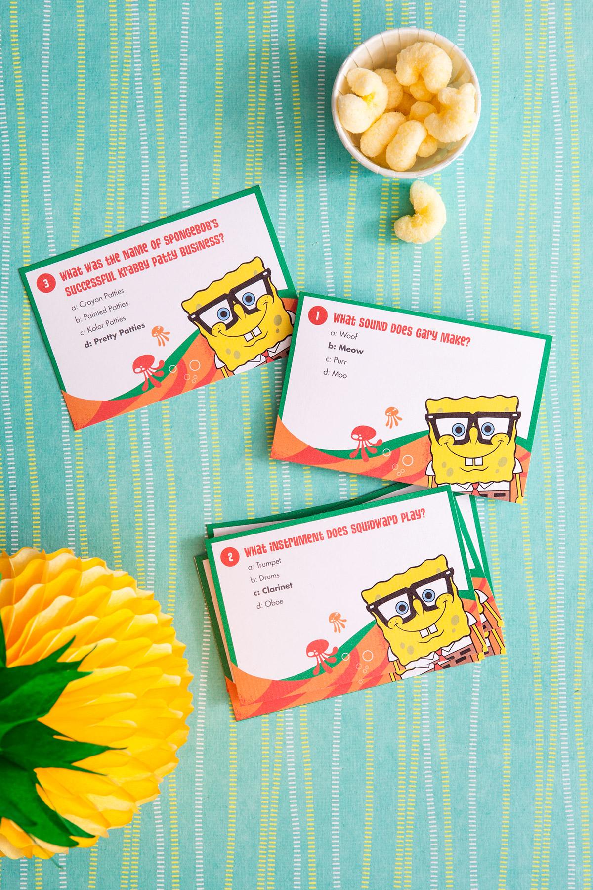 Spongebob Printable Trivia Card Game