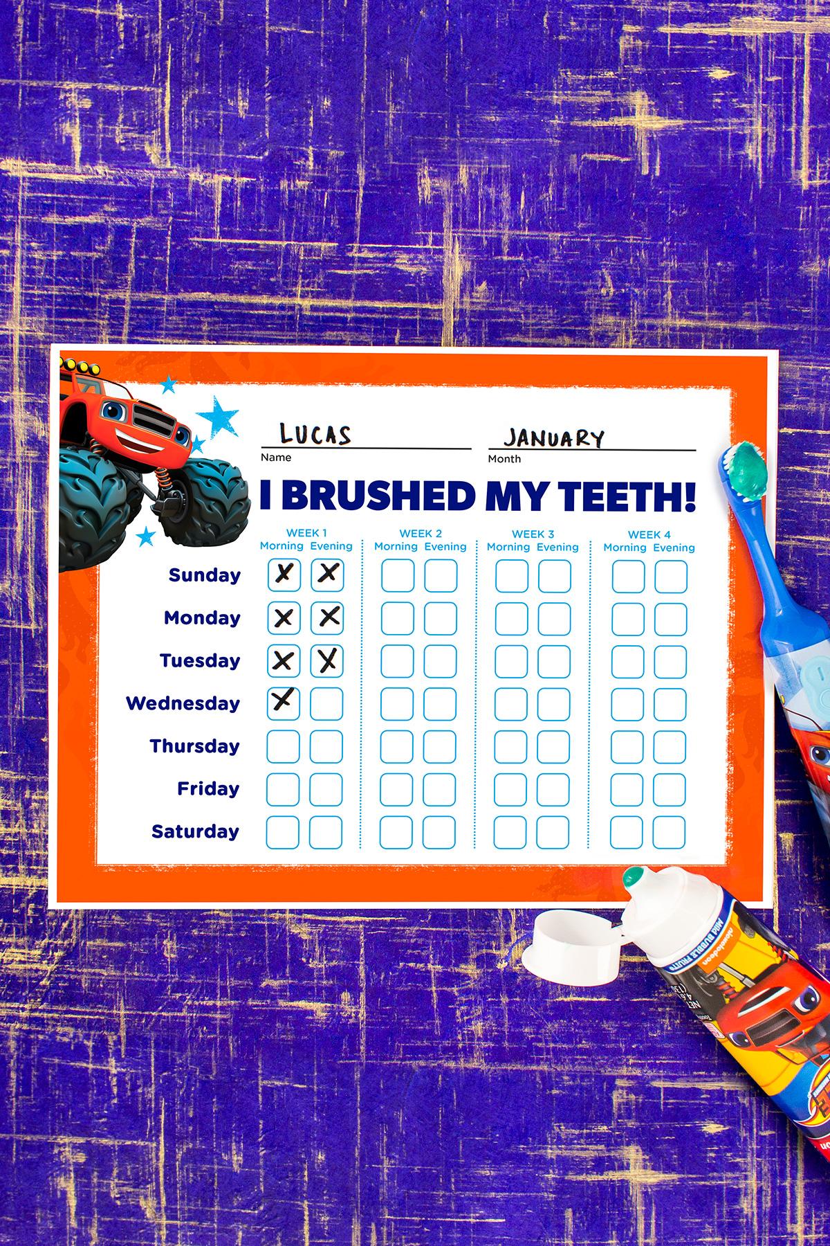 Blaze Teeth Brushing Chart