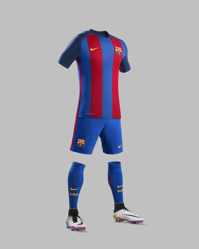 The sides of the kit feature a red stripe detail that runs the length of  the shirt and classic FC Barcelona blue shorts. The stripe expands when the  player ... c5c62ccac07