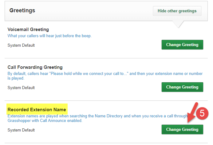 How do I change the Name greeting for extensions