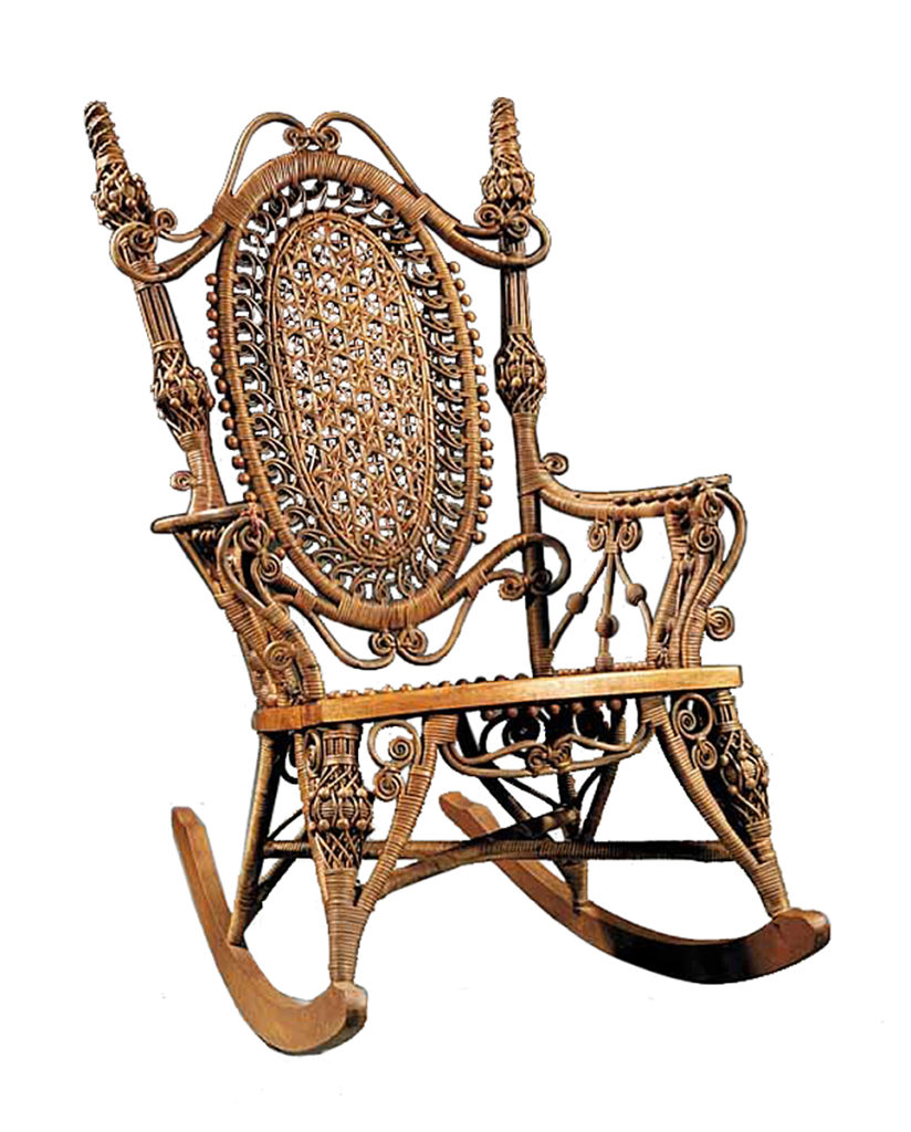 heywood wakefield wicker chairs foldable chaise lounge kovel s antiques furniture goes in out of style news ornate victorian designs worked well for this labeled preserved rocking chair sold recently at neal auction co