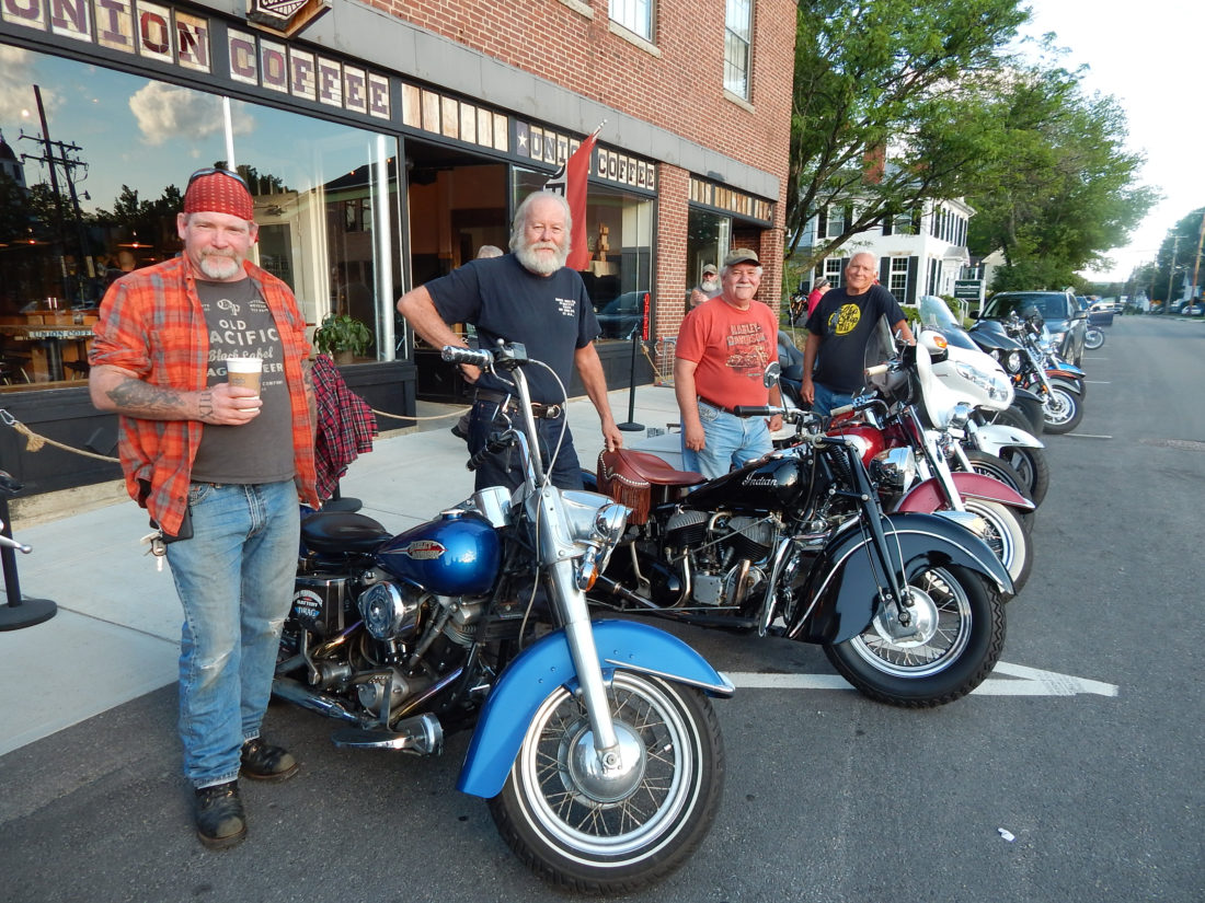 hight resolution of  bike night include from left milford s patrick mcgourty with his 1974 harley davidson flh local rider buff murdock alongside his 1948 indian chief