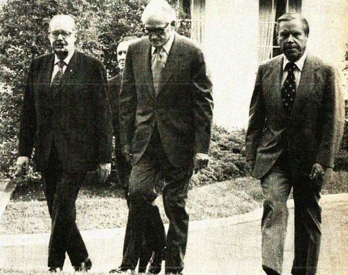 Senators Scott, Goldwater and Rhodes leaving White House - they doth protesteth too much.
