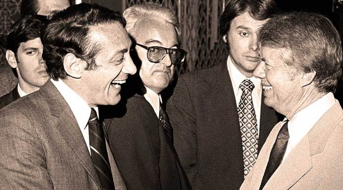 Jimmy Carter meets Harvey Milk - the onlookers had a different story, no doubt.