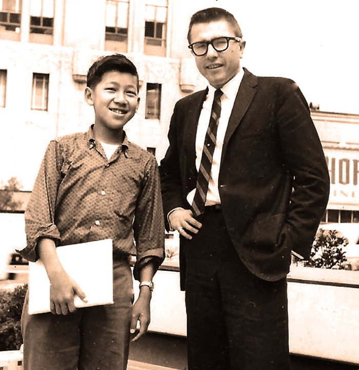Disc Jockey Gary Owens in 1959 - with future Rolling Stone Founder Ben Fong Torres.