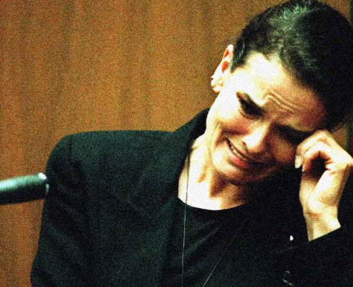 The OJ Simpson Trial - Denise Brown on the witness stand.  Grim details and a howling Defense.