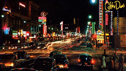 L.A. at night - Hollywood - 1955