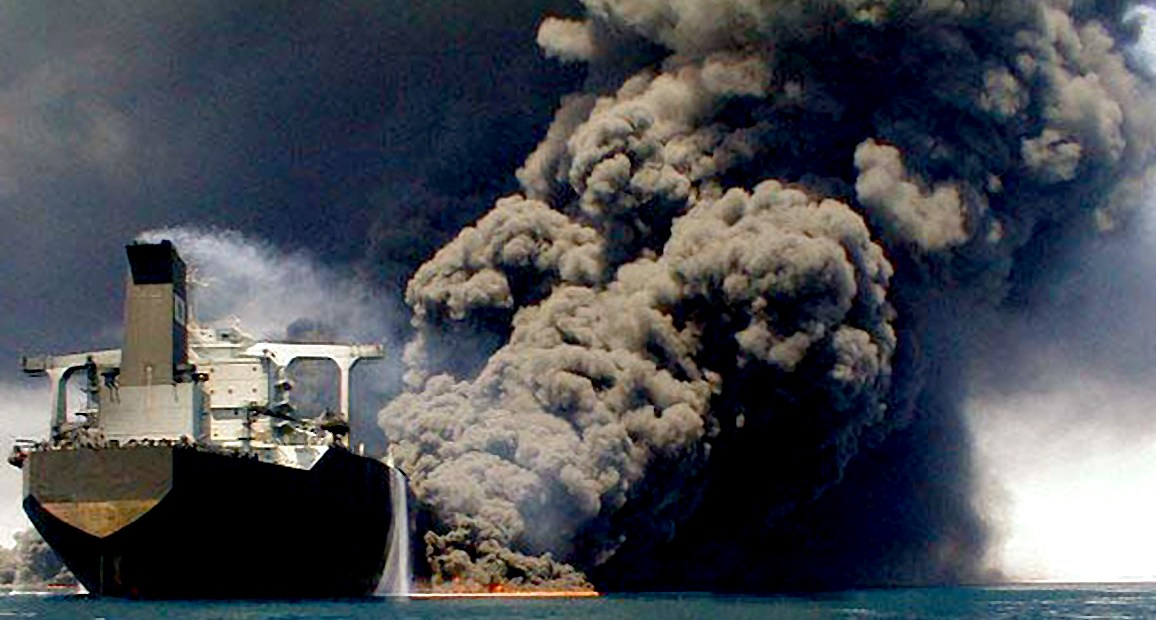Burning oil tanker - Persian Gulf