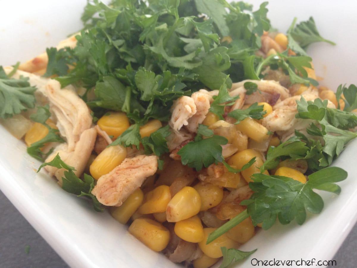Mexican Style Warm Corn Salad With Chicken & Cilantro