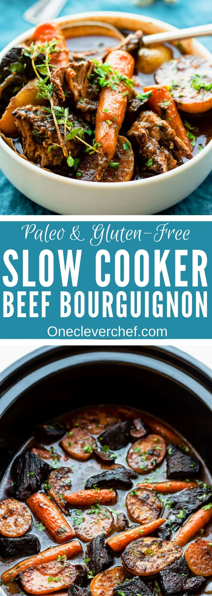 This slow cooker gluten-free beef bourguignon (or Beef Burgundy) recipe is the best I have ever tried. Cooking it in a slow cooker makes it super easy to prepare and extra tasty! My very simple version of this classic French stew is entirely gluten-free and can be made paleo by picking the right red wine for this particular diet.   www.onecleverchef.com #paleo #gluten-free #comfortfood #stew #beefbourguignon #slowcooker #healthy #weeknight #crockpot
