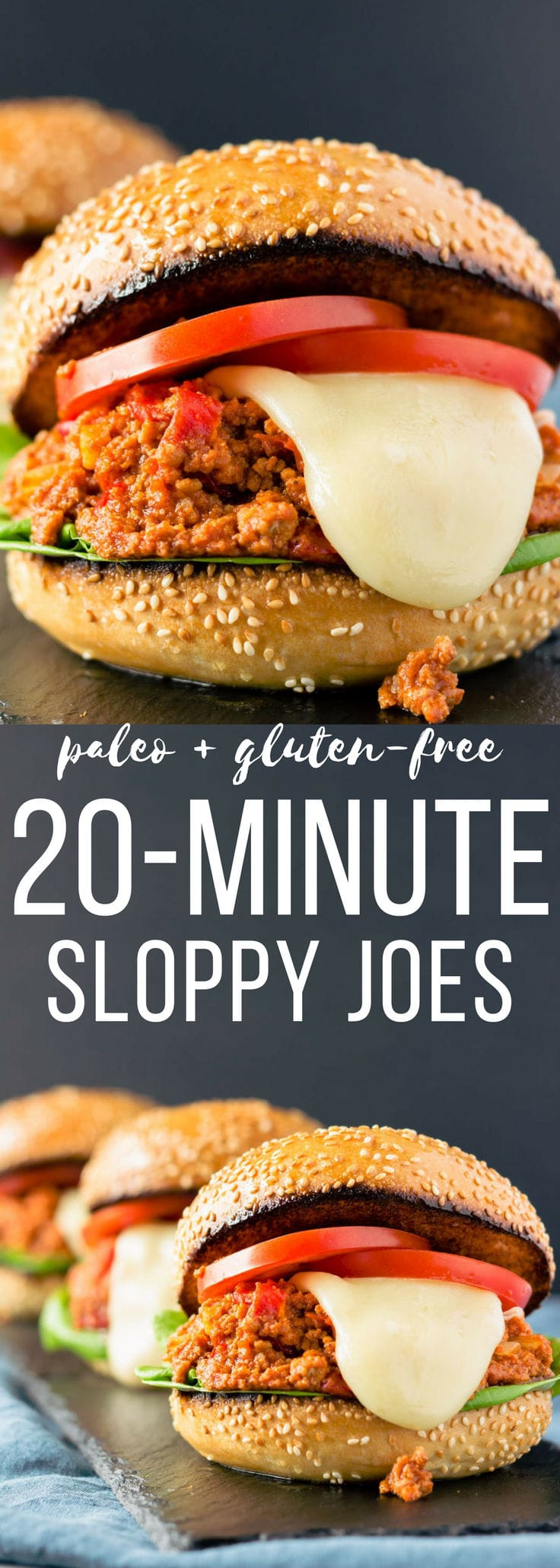 These quick and easy paleo sloppy joes can be made, from scratch, in just 20 minutes. This clean eating, kid-friendly recipe is the perfect weeknight meal and is guaranteed to please the whole family. Gluten-free and dairy-free options also available. | www.onecleverchef.com #paleo #gluten-free #weeknightmeal #20-minute #comfortfood #healthy #cleaneating