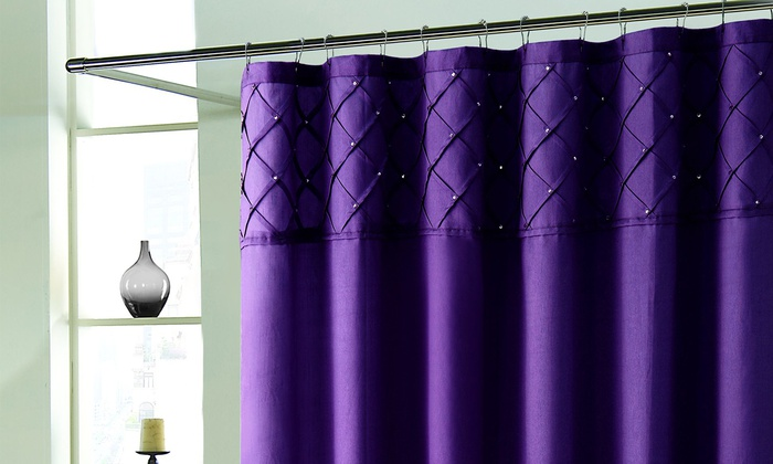 Rhinestone Pintuck Faux Silk Shower Curtain Eggplant