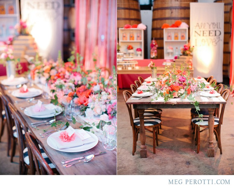 Floral place settings & rustic tables by Meg Perotti via oreeko.com