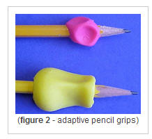 Adaptive pencil grips in 2 different sizes