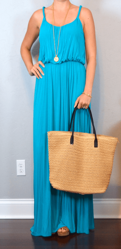 outfit post aqua maxi brown wedges straw bag