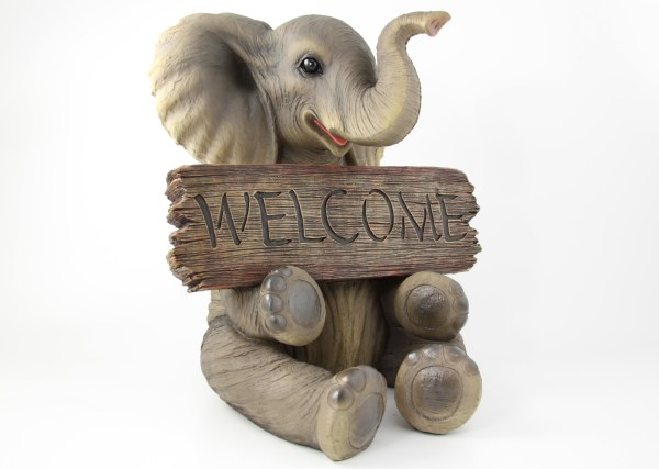40cm Sitting Elephant Statue With Sign & Trunk