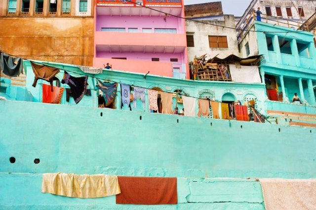 Clothes hanging on a line in Varanasi