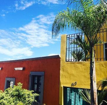 Colorful buildings in Calvillo, Mexico