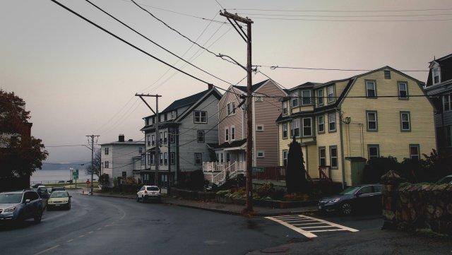 A quiet street corner in Gloucester, Massachusetts