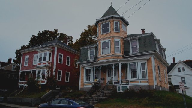 Old, colorful homes in Gloucester, Massachusetts