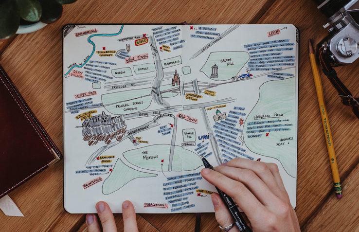 An open notebook featuring a hand-drawn map