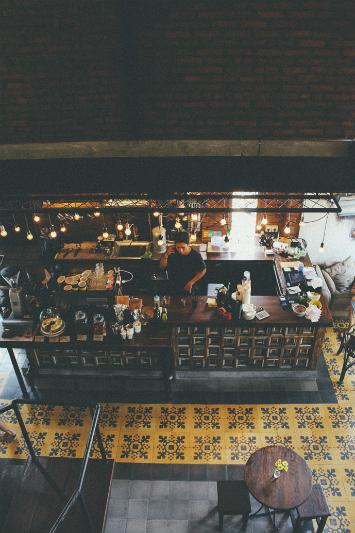 An overhead shot of a café in Bali